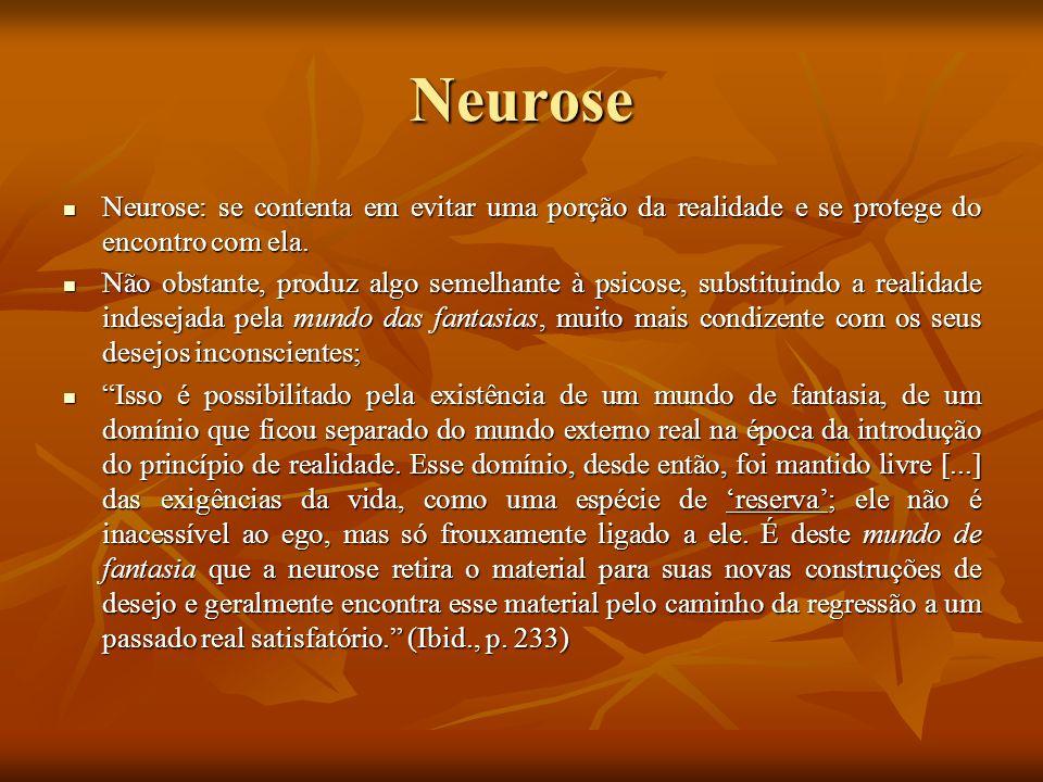 Neurose Neurose: se contenta em evitar uma porção da realidade e se protege do encontro com ela. Neurose: se contenta em evitar uma porção da realidad