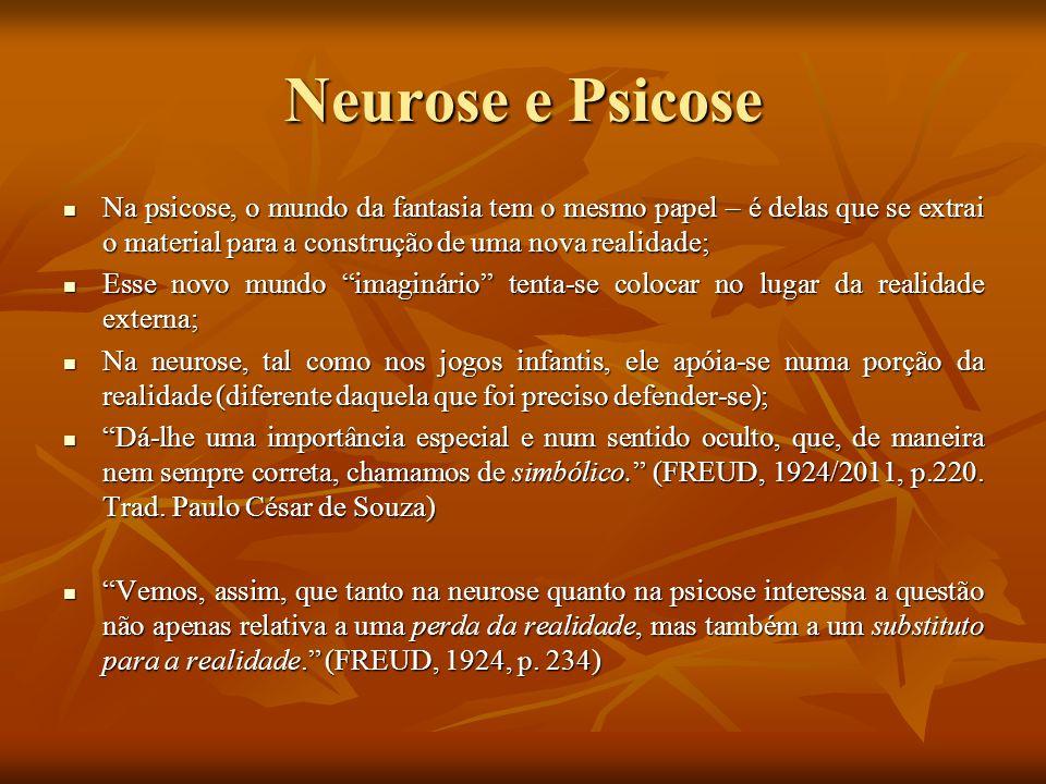 Neurose e Psicose Na psicose, o mundo da fantasia tem o mesmo papel – é delas que se extrai o material para a construção de uma nova realidade; Na psi
