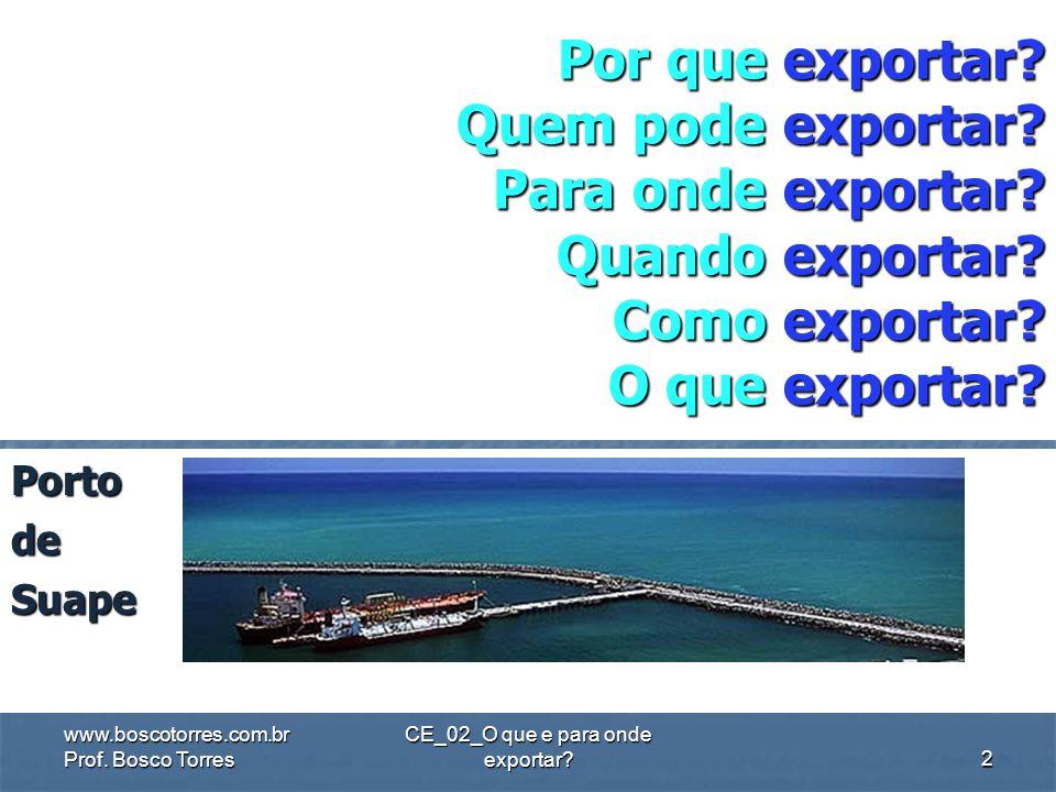 CE_02_O que e para onde exportar? CE_02_O que e para onde exportar? DISCIPLINA: Comércio Exterior FONTES: 1) MINERVINI, Nicola. O Exportador. Ferramen
