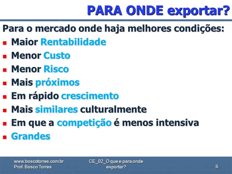 CE_02_O que e para onde exportar? QUEM PODE exportar? Em princípio, qualquer empresa pode exportar. A empresa precisa ter qualidade, criatividade e pr