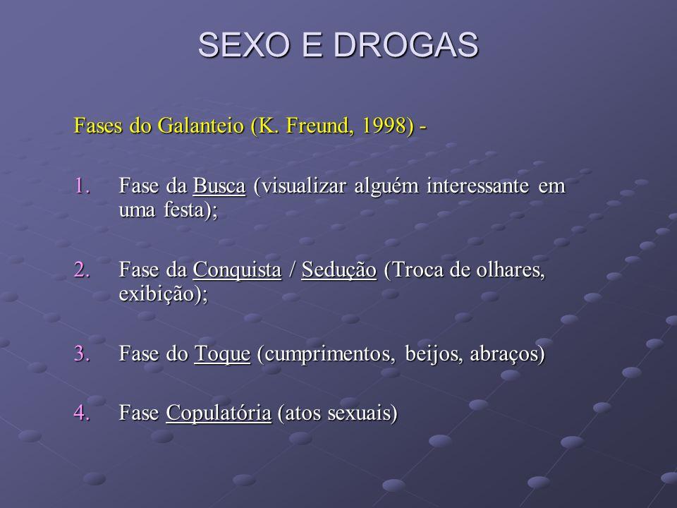 SEXO E DROGAS 2.4 Transtornos da Sexualidade e o Consumo de Substâncias Psicoativas – Fases da Resposta Sexual Normal: Excitação Ach NO Platô Orgasmo NE Resolução Desejo DA GABA (??) (Stahl, 2000)
