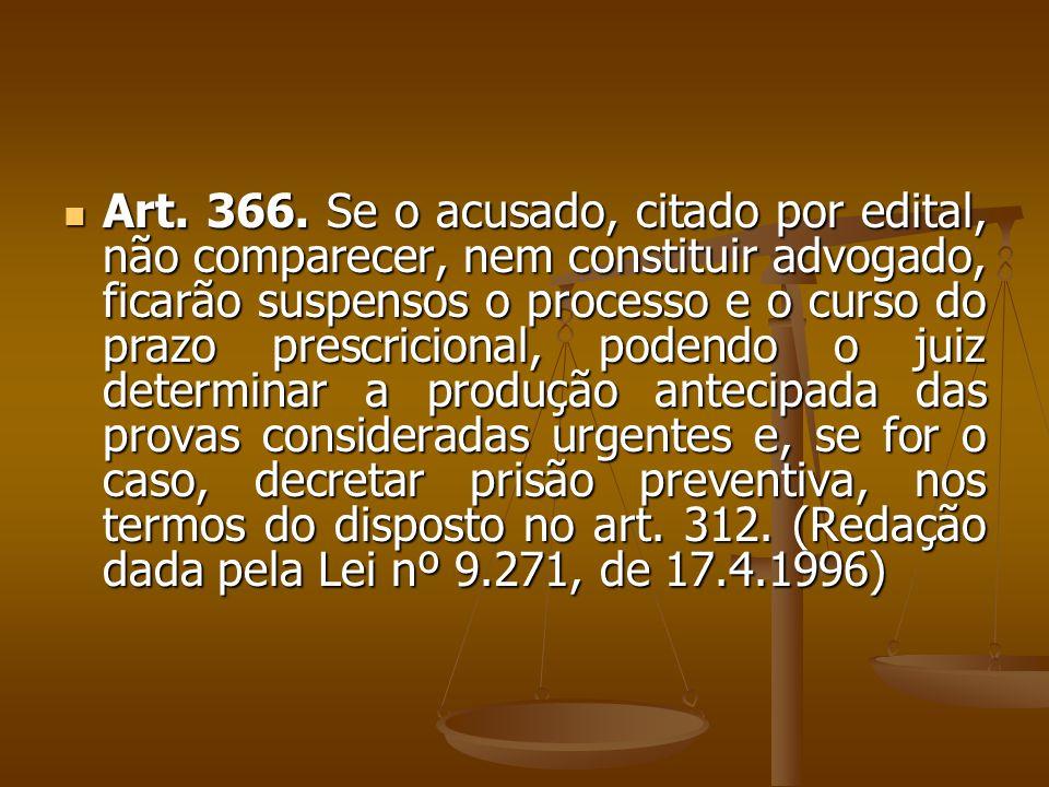 Art. 366. Se o acusado, citado por edital, não comparecer, nem constituir advogado, ficarão suspensos o processo e o curso do prazo prescricional, pod