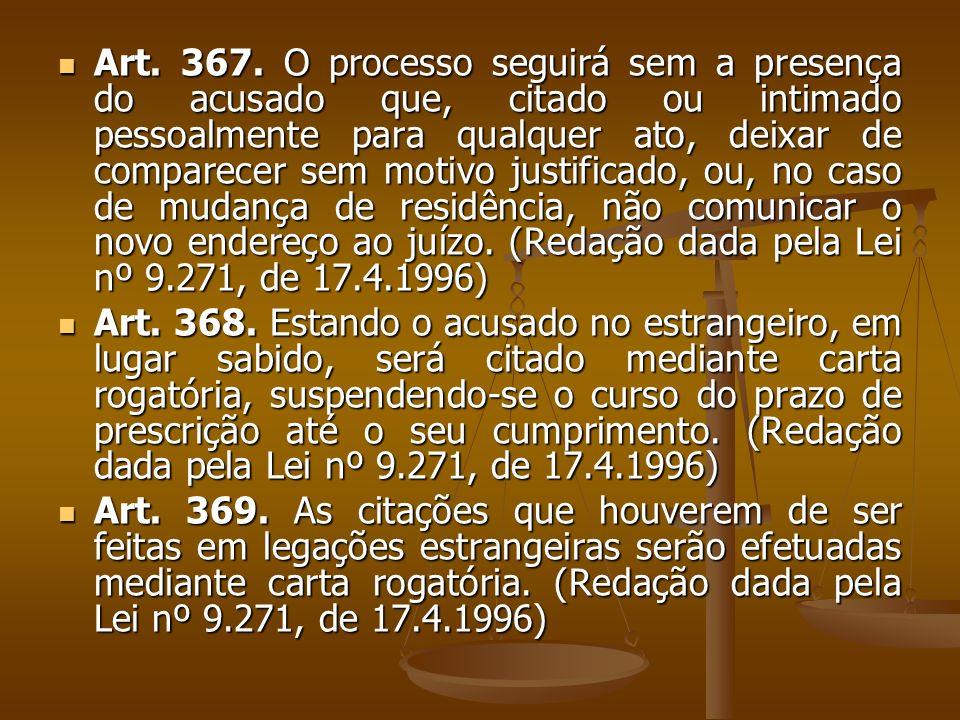 Art. 367. O processo seguirá sem a presença do acusado que, citado ou intimado pessoalmente para qualquer ato, deixar de comparecer sem motivo justifi