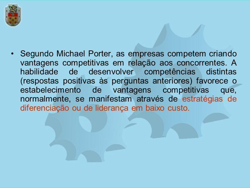 Segundo Michael Porter, as empresas competem criando vantagens competitivas em relação aos concorrentes. A habilidade de desenvolver competências dist