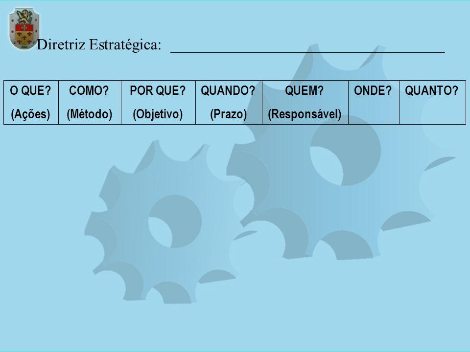 Diretriz Estratégica: ___________________________________ O QUE? (Ações) COMO? (Método) POR QUE? (Objetivo) QUANDO? (Prazo) QUEM? (Responsável) ONDE?Q