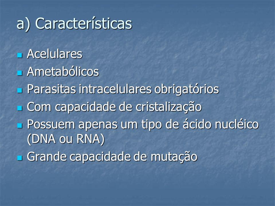 a) Características Acelulares Acelulares Ametabólicos Ametabólicos Parasitas intracelulares obrigatórios Parasitas intracelulares obrigatórios Com cap