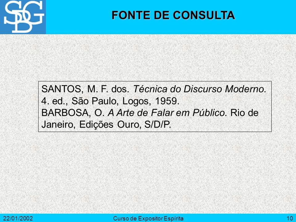 22/01/2002Curso de Expositor Espírita10 SANTOS, M. F. dos. Técnica do Discurso Moderno. 4. ed., São Paulo, Logos, 1959. BARBOSA, O. A Arte de Falar em
