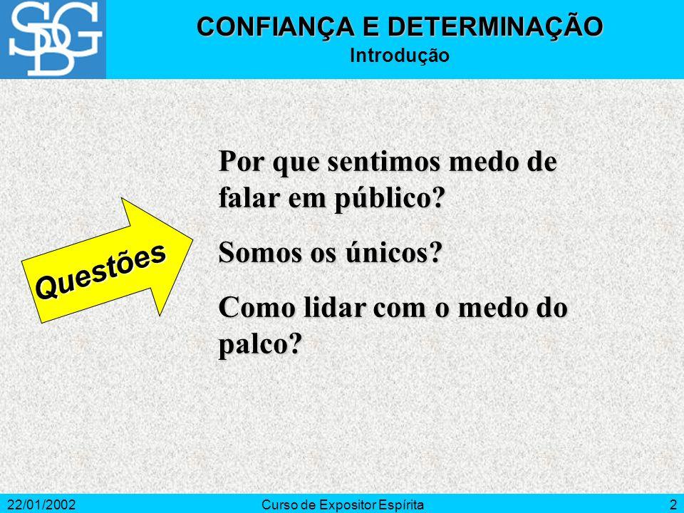 22/01/2002Curso de Expositor Espírita3 1 Ação de confiar.