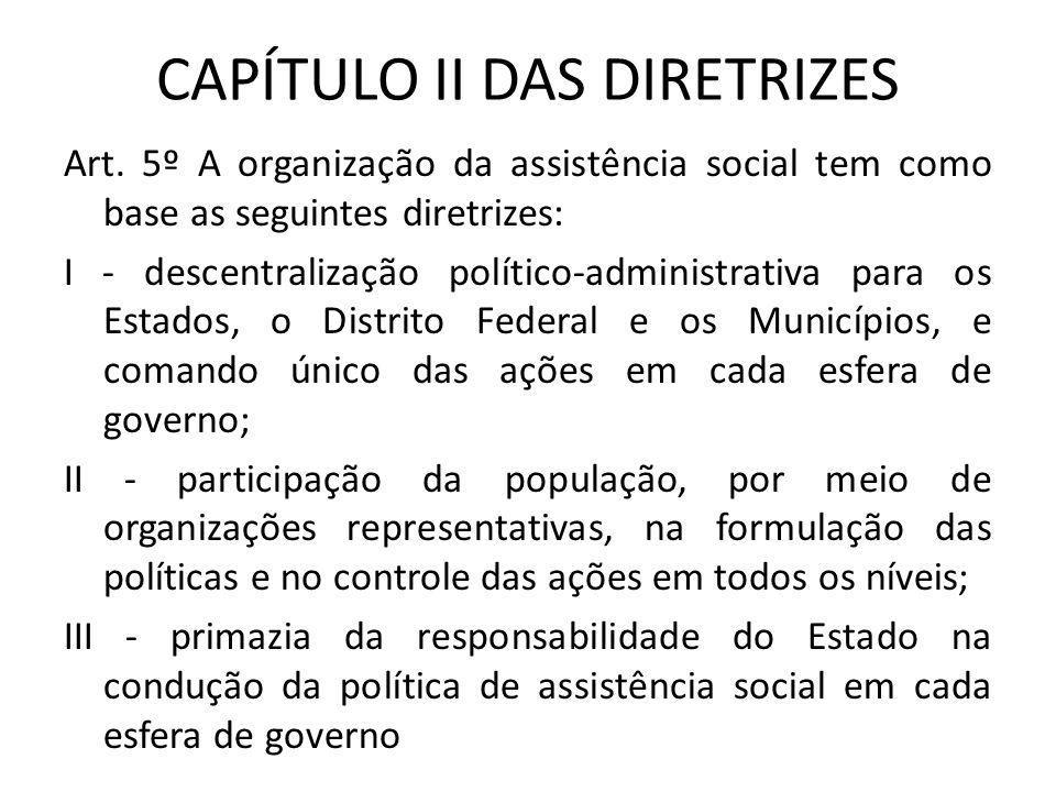 CAPÍTULO II DAS DIRETRIZES Art. 5º A organização da assistência social tem como base as seguintes diretrizes: I - descentralização político-administra