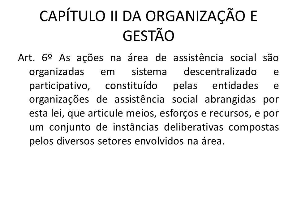 CAPÍTULO II DA ORGANIZAÇÃO E GESTÃO Art. 6º As ações na área de assistência social são organizadas em sistema descentralizado e participativo, constit