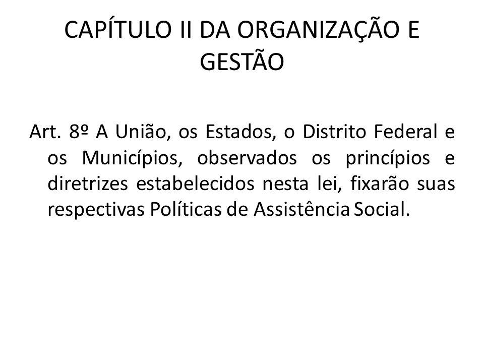CAPÍTULO II DA ORGANIZAÇÃO E GESTÃO Art. 8º A União, os Estados, o Distrito Federal e os Municípios, observados os princípios e diretrizes estabelecid