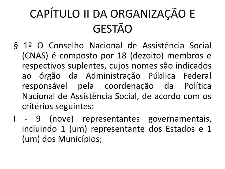 CAPÍTULO II DA ORGANIZAÇÃO E GESTÃO § 1º O Conselho Nacional de Assistência Social (CNAS) é composto por 18 (dezoito) membros e respectivos suplentes,