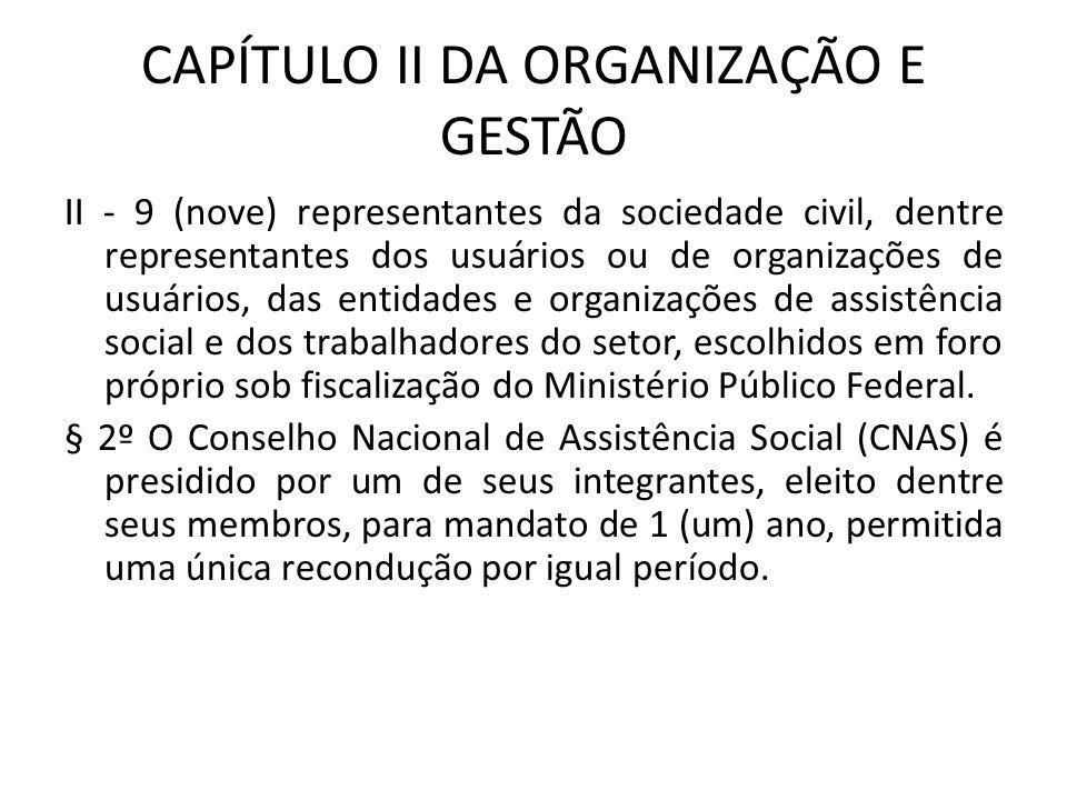 CAPÍTULO II DA ORGANIZAÇÃO E GESTÃO II - 9 (nove) representantes da sociedade civil, dentre representantes dos usuários ou de organizações de usuários