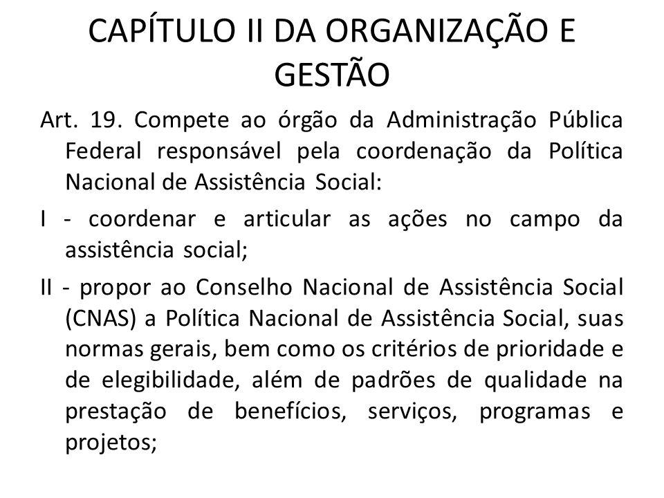 CAPÍTULO II DA ORGANIZAÇÃO E GESTÃO Art. 19. Compete ao órgão da Administração Pública Federal responsável pela coordenação da Política Nacional de As
