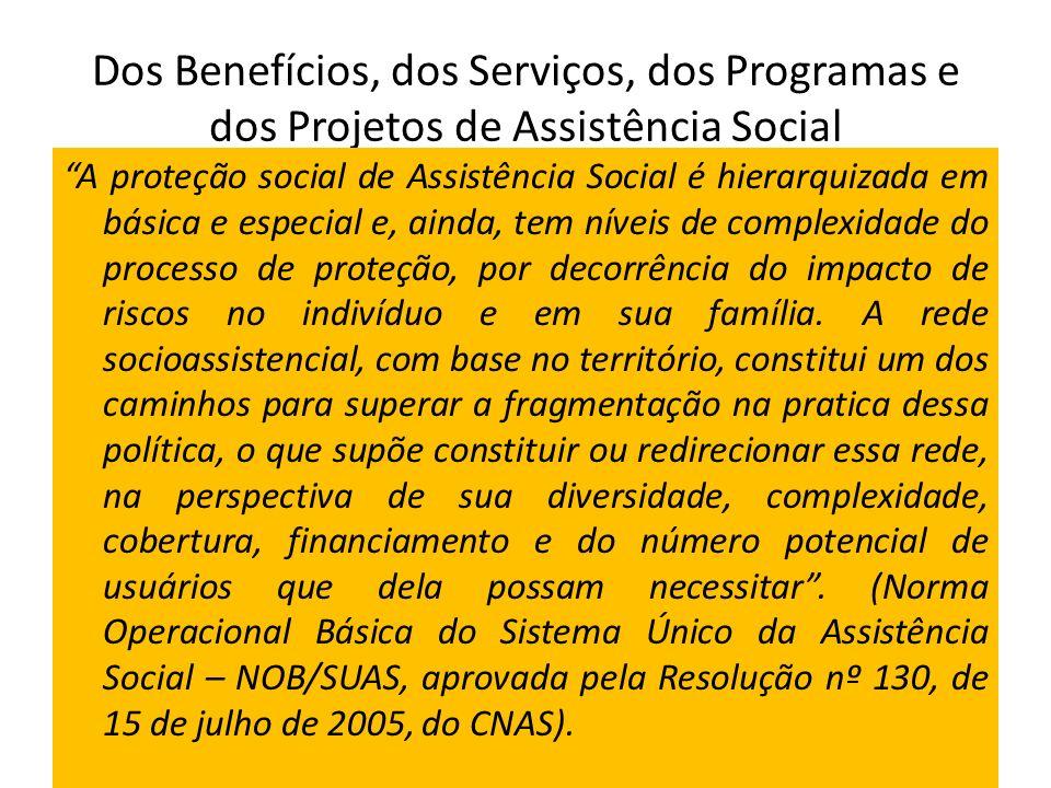 Dos Benefícios, dos Serviços, dos Programas e dos Projetos de Assistência Social A proteção social de Assistência Social é hierarquizada em básica e e