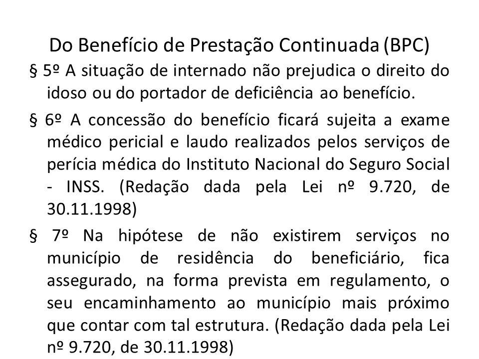 Do Benefício de Prestação Continuada (BPC) § 5º A situação de internado não prejudica o direito do idoso ou do portador de deficiência ao benefício. §