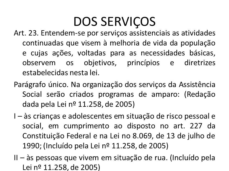 DOS SERVIÇOS Art. 23. Entendem-se por serviços assistenciais as atividades continuadas que visem à melhoria de vida da população e cujas ações, voltad