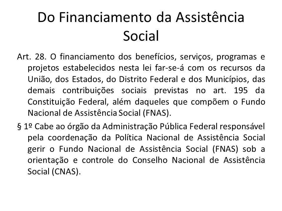 Do Financiamento da Assistência Social Art. 28. O financiamento dos benefícios, serviços, programas e projetos estabelecidos nesta lei far-se-á com os