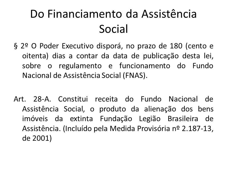 Do Financiamento da Assistência Social § 2º O Poder Executivo disporá, no prazo de 180 (cento e oitenta) dias a contar da data de publicação desta lei