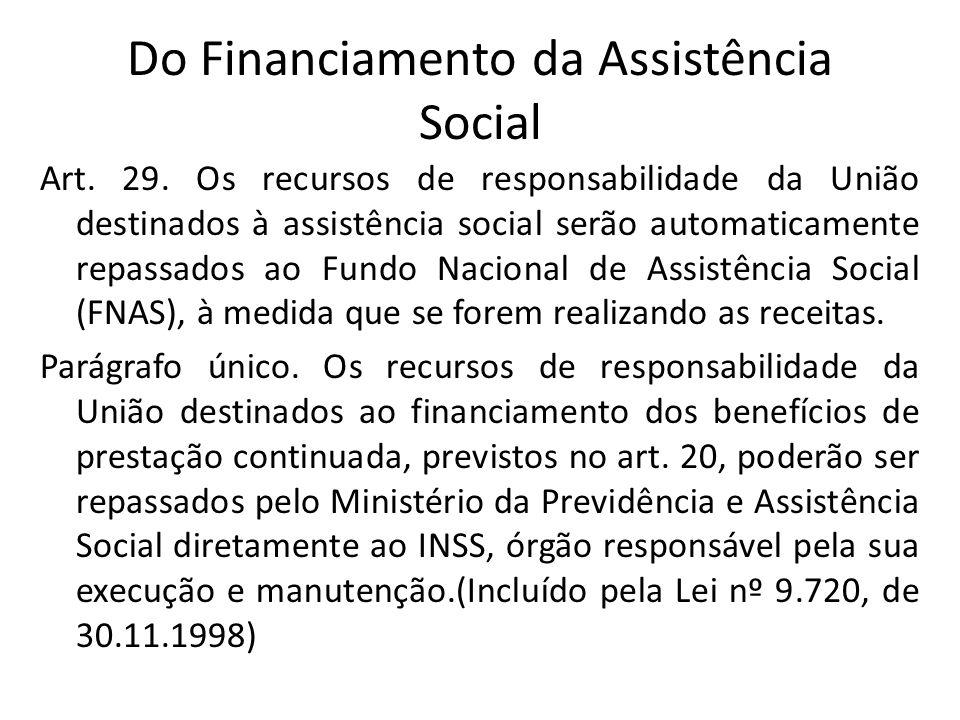 Do Financiamento da Assistência Social Art. 29. Os recursos de responsabilidade da União destinados à assistência social serão automaticamente repassa