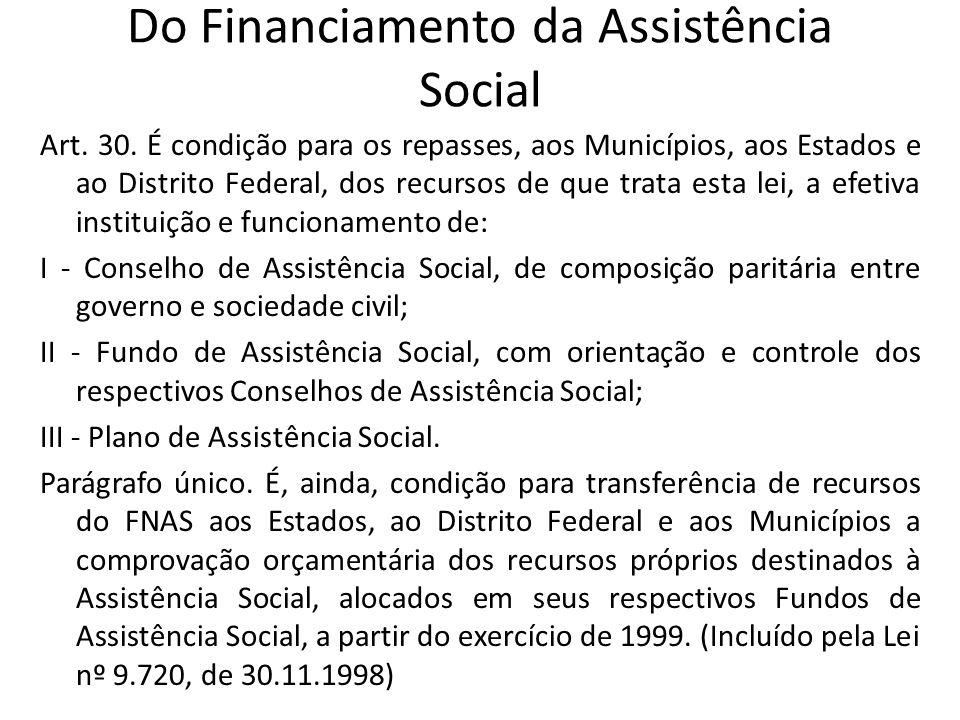 Do Financiamento da Assistência Social Art. 30. É condição para os repasses, aos Municípios, aos Estados e ao Distrito Federal, dos recursos de que tr