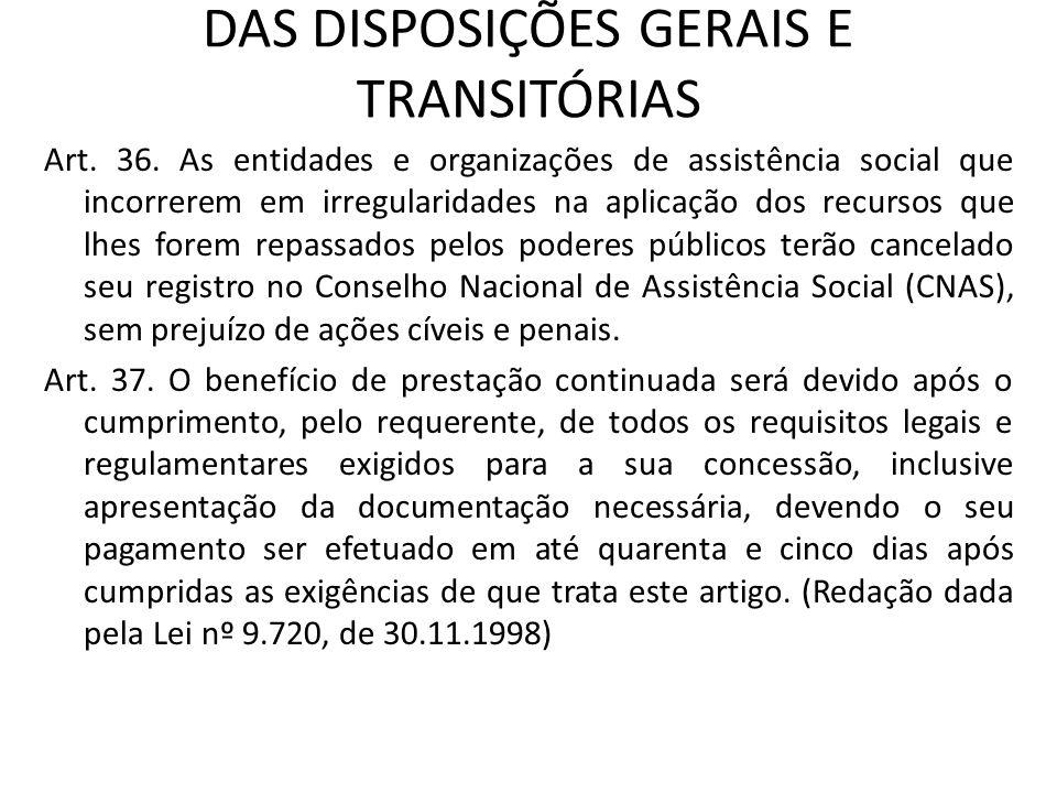 DAS DISPOSIÇÕES GERAIS E TRANSITÓRIAS Art. 36. As entidades e organizações de assistência social que incorrerem em irregularidades na aplicação dos re