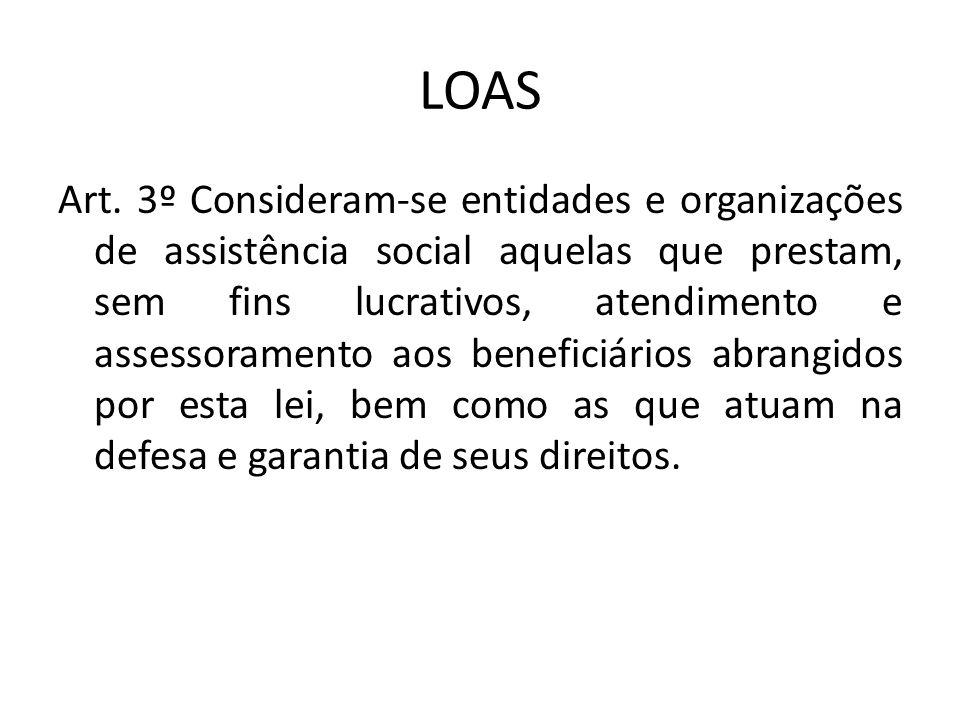 LOAS Art. 3º Consideram-se entidades e organizações de assistência social aquelas que prestam, sem fins lucrativos, atendimento e assessoramento aos b
