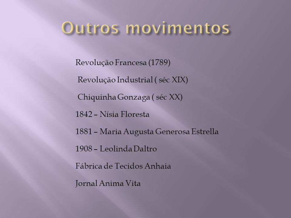 Revolução Francesa (1789) Revolução Industrial ( séc XIX) Chiquinha Gonzaga ( séc XX) 1842 – Nísia Floresta 1881 – Maria Augusta Generosa Estrella 190