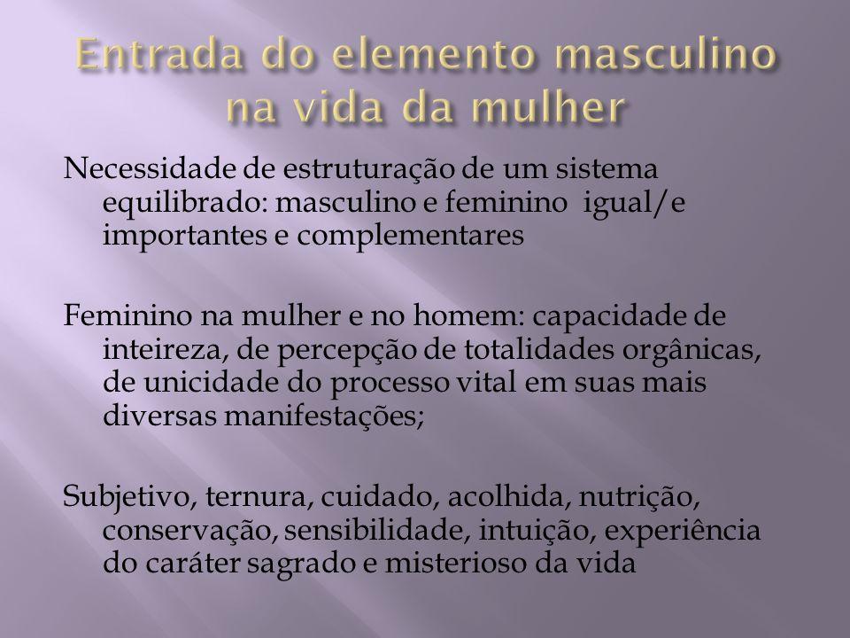 Necessidade de estruturação de um sistema equilibrado: masculino e feminino igual/e importantes e complementares Feminino na mulher e no homem: capaci