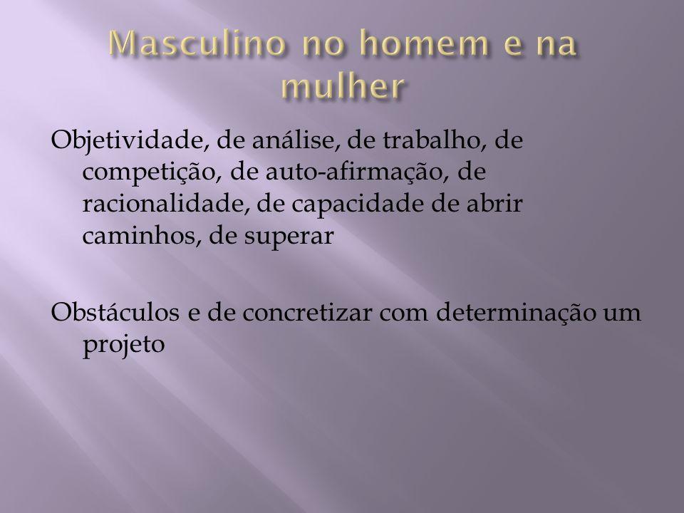 Masculino e feminino juntos: com ternura e vigor; Com subjetividade fecunda; Com objetividade segura A complementaridade dos gêneros gera libertação da alma
