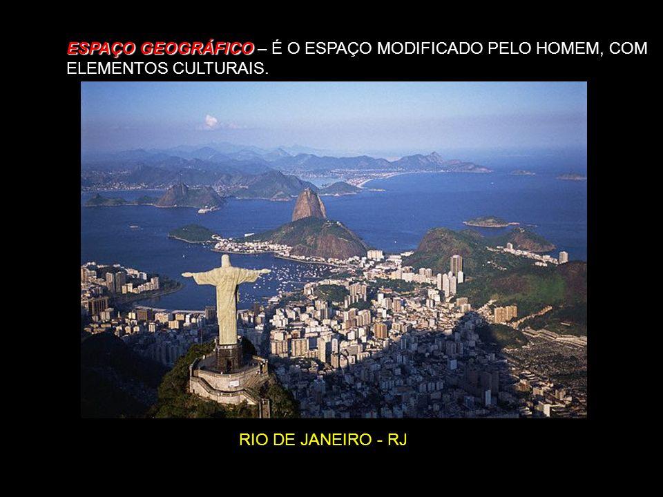 ESPAÇO GEOGRÁFICO ESPAÇO GEOGRÁFICO – É O ESPAÇO MODIFICADO PELO HOMEM, COM ELEMENTOS CULTURAIS. RIO DE JANEIRO - RJ
