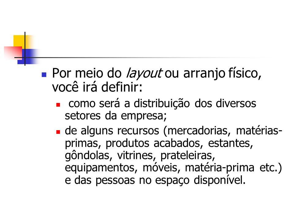 Por meio do layout ou arranjo físico, você irá definir: como será a distribuição dos diversos setores da empresa; de alguns recursos (mercadorias, mat