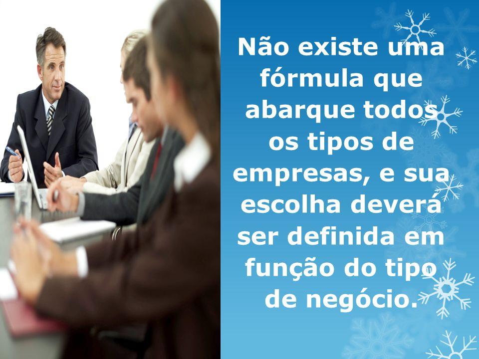 Não existe uma fórmula que abarque todos os tipos de empresas, e sua escolha deverá ser definida em função do tipo de negócio.