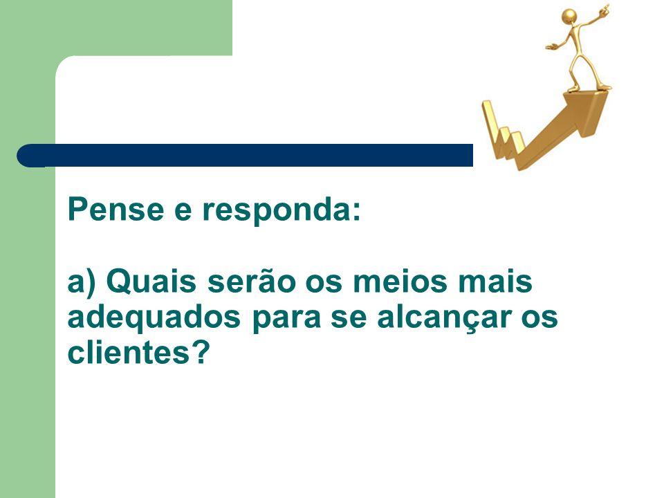 Pense e responda: a) Quais serão os meios mais adequados para se alcançar os clientes?