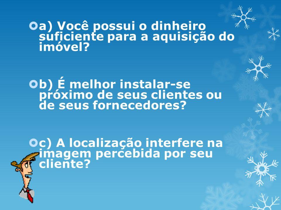 a) Você possui o dinheiro suficiente para a aquisição do imóvel? b) É melhor instalar-se próximo de seus clientes ou de seus fornecedores? c) A locali