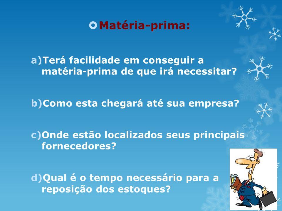 Matéria-prima: a)Terá facilidade em conseguir a matéria-prima de que irá necessitar? b)Como esta chegará até sua empresa? c)Onde estão localizados seu