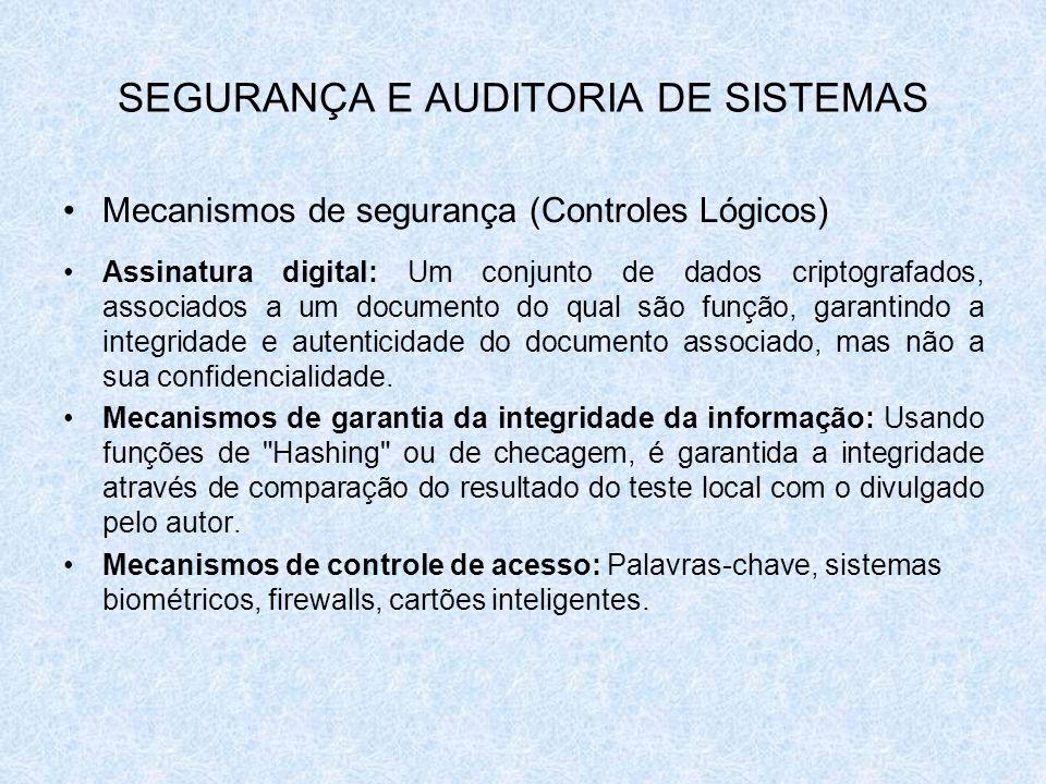SEGURANÇA E AUDITORIA DE SISTEMAS Mecanismos de segurança (Controles Lógicos) Assinatura digital: Um conjunto de dados criptografados, associados a um