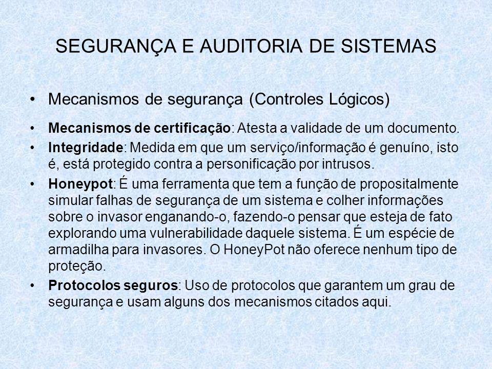 SEGURANÇA E AUDITORIA DE SISTEMAS Mecanismos de segurança (Controles Lógicos) Mecanismos de certificação: Atesta a validade de um documento. Integrida