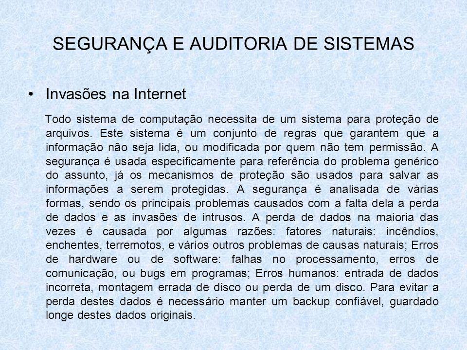 SEGURANÇA E AUDITORIA DE SISTEMAS Invasões na Internet Todo sistema de computação necessita de um sistema para proteção de arquivos. Este sistema é um