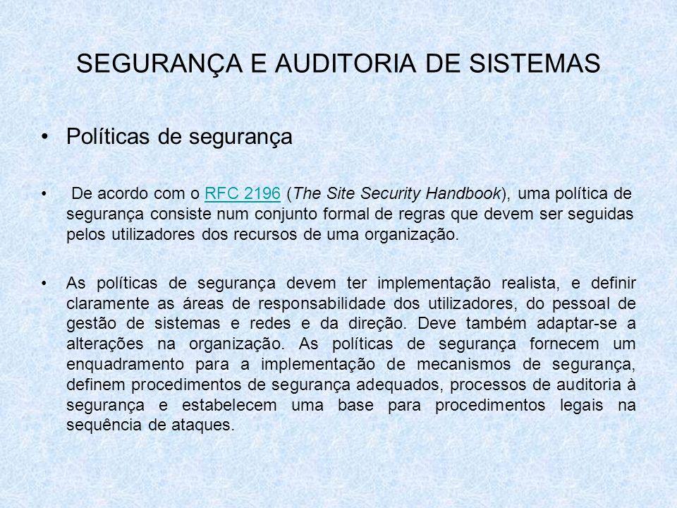 SEGURANÇA E AUDITORIA DE SISTEMAS Políticas de segurança De acordo com o RFC 2196 (The Site Security Handbook), uma política de segurança consiste num