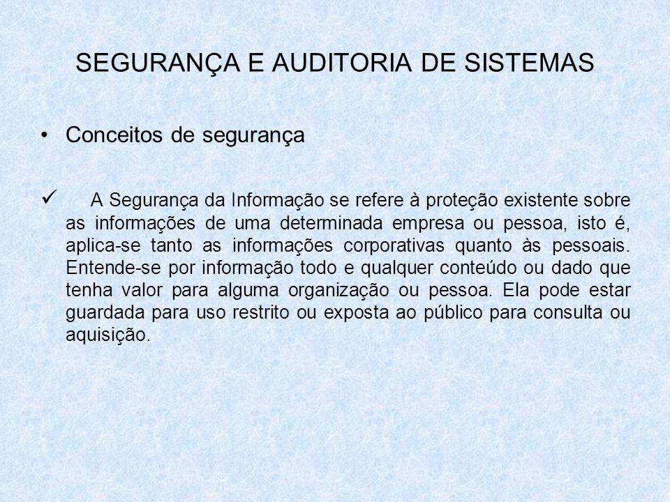 SEGURANÇA E AUDITORIA DE SISTEMAS Conceitos de segurança A Segurança da Informação se refere à proteção existente sobre as informações de uma determin