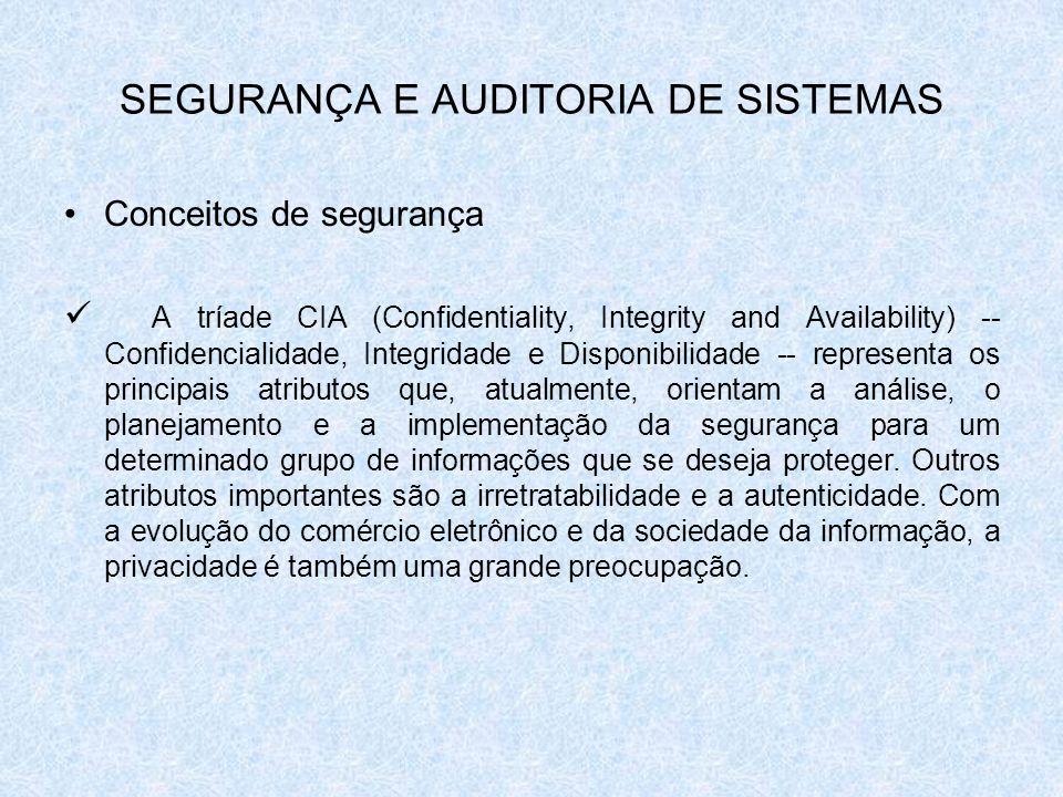 SEGURANÇA E AUDITORIA DE SISTEMAS Conceitos de segurança A tríade CIA (Confidentiality, Integrity and Availability) -- Confidencialidade, Integridade