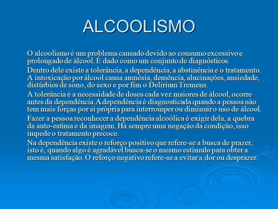 ALCOOLISMO O alcoolismo é um problema causado devido ao consumo excessivo e prolongado de álcool. É dado como um conjunto de diagnósticos. Dentro dele