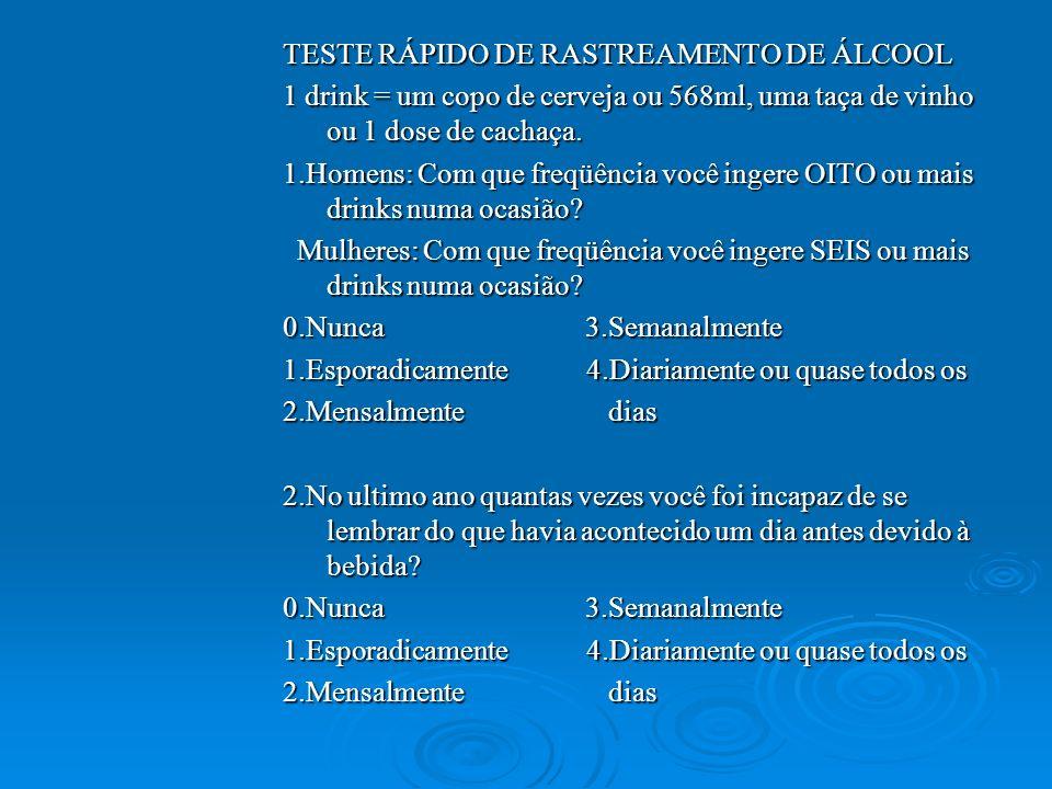 TESTE RÁPIDO DE RASTREAMENTO DE ÁLCOOL 1 drink = um copo de cerveja ou 568ml, uma taça de vinho ou 1 dose de cachaça. 1.Homens: Com que freqüência voc