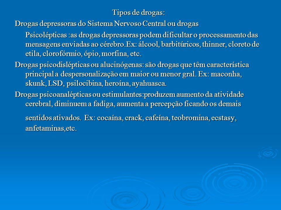 Tipos de drogas: Drogas depressoras do Sistema Nervoso Central ou drogas Psicolépticas :as drogas depressoras podem dificultar o processamento das men