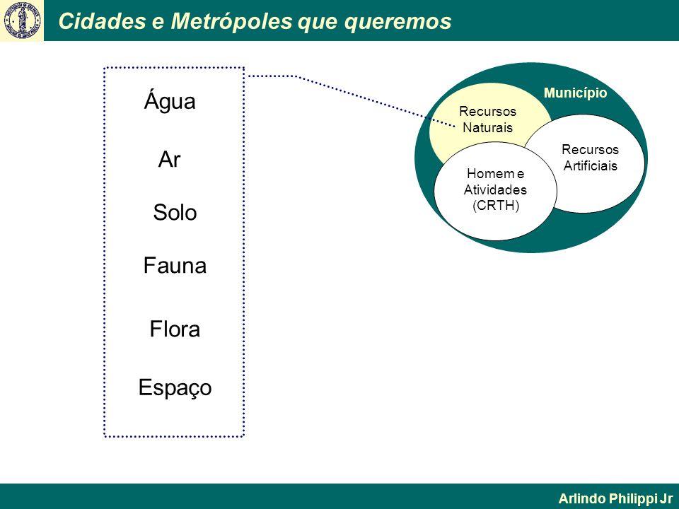 Cidades e Metrópoles que queremos Arlindo Philippi Jr Município Recursos Naturais Homem e Atividades (CRTH) Recursos Artificiais Água Ar Solo Fauna Es