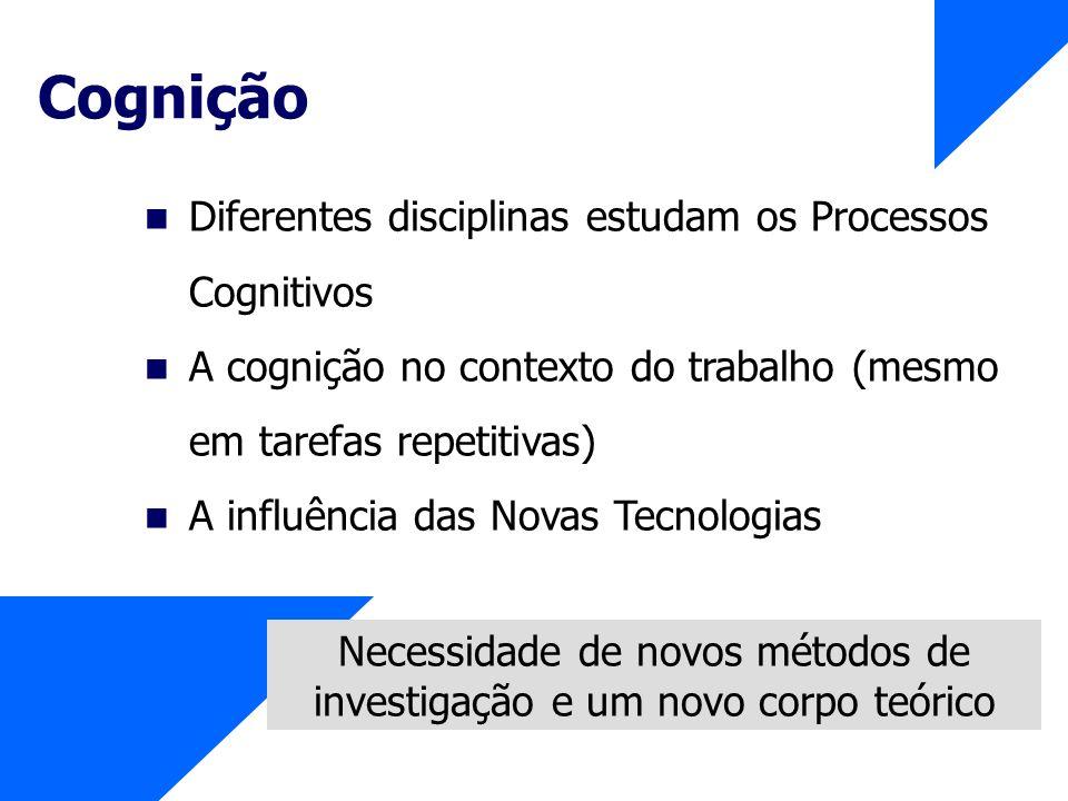 Cognição Diferentes disciplinas estudam os Processos Cognitivos A cognição no contexto do trabalho (mesmo em tarefas repetitivas) A influência das Nov