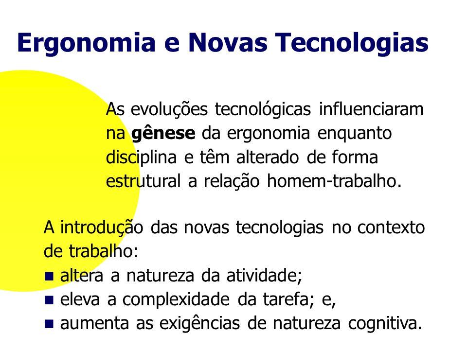 A introdução das novas tecnologias no contexto de trabalho: altera a natureza da atividade; eleva a complexidade da tarefa; e, aumenta as exigências d