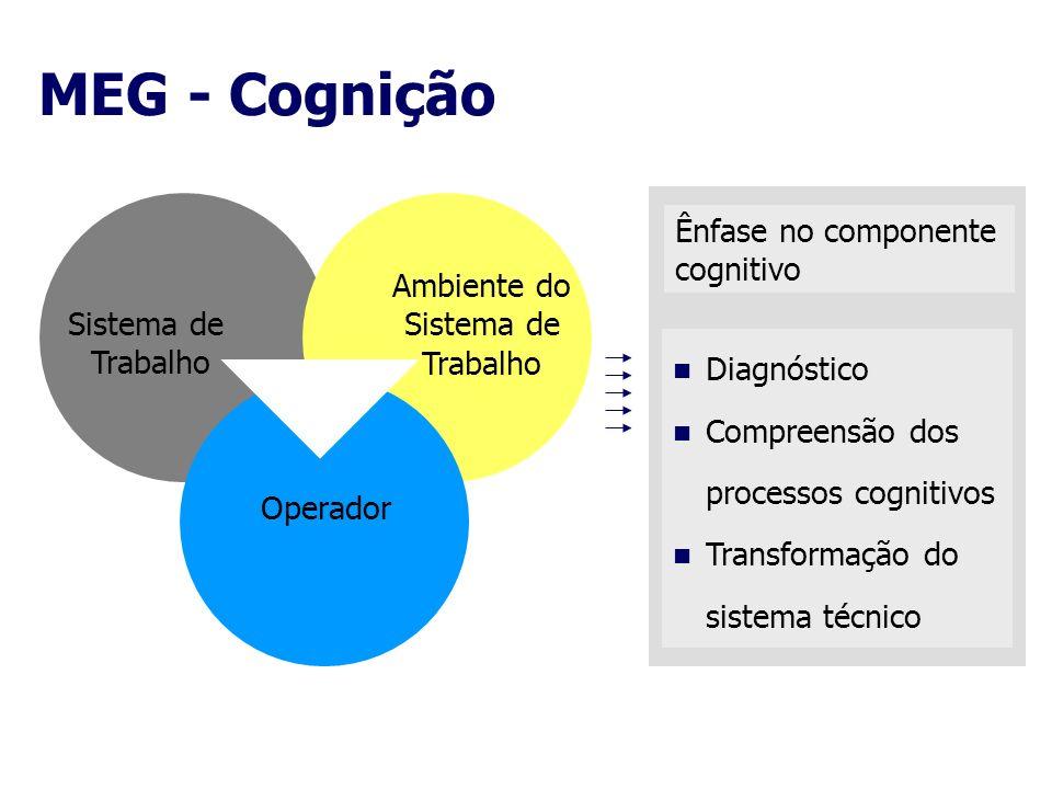 MEG - Cognição Sistema de Trabalho Ambiente do Sistema de Trabalho Operador Ênfase no componente cognitivo Diagnóstico Compreensão dos processos cogni