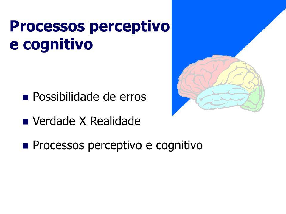 Possibilidade de erros Verdade X Realidade Processos perceptivo e cognitivo